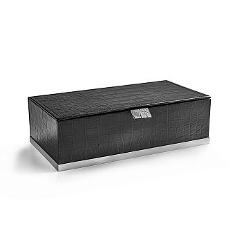 3SC Cocco Коробка с крышкой 25х13хh8см, отделка: черная кожа, цвет: хром