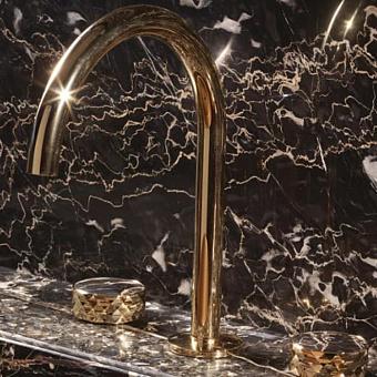 Carlo Frattini Texture Collection Смеситель для раковины, на 3 отверстия, донный клапан click-clack, цвет: золото