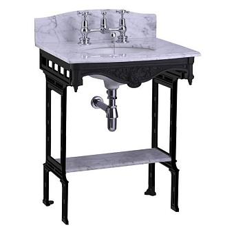 Burlington Georgian Мраморная столешница с подстольем, с полкой из мрамора Carrara, задний борт, цвет: черный алюминий
