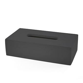3SC Mood Black Контейнер для бумажных салфеток, 24х7х13 см, прямоугольный, настольный,  композит Solid Surface, цвет: чёрный матовый