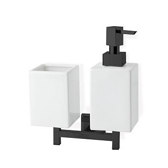 StilHaus Urania Дозатор + стакан, цвет: черный матовый/белая керамика