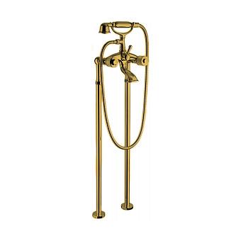 Bongio Cristallo Смеситель напольный для ванны, с ручной лейкой, цвет золото/cristallo Bianco 00