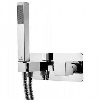 """Bossini Cube Смеситель для душа, встраиваемый, с девиатором на 2 выхода, ручной душ с держателем, подключение на 1/2"""", цвет: хром"""