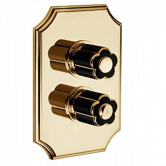 Bongio Fleur Noir, Смеситель термостатический для душа, цвет: золото/черный фарфор
