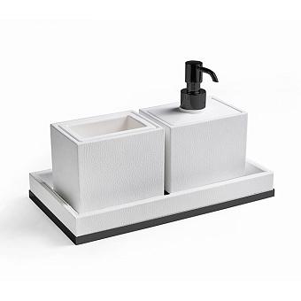 3SC Snowy Комплект: стакан, дозатор, лоток, цвет: белая эко-кожа/черный матовый