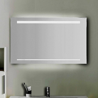 Burgbad Зеркало с подсветкой 90х64х2.5см , сенсорный выкл.с регулировкой силы света, IP24, цвет: алюминий