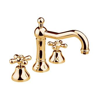 Nicolazzi Nuova Brenta Смеситель для раковины на 3 отверстия, с донным клапаном, излив: 165мм, цвет: золото