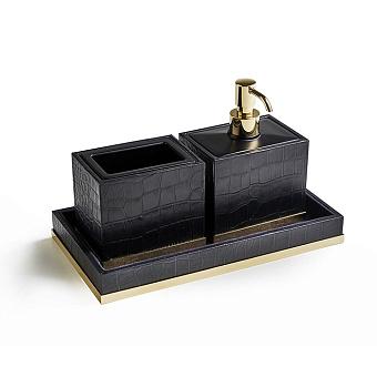 3SC Cocco Комплект: стакан, дозатор и лоток, отделка: черная кожа, цвет: золото 24к. Lucido