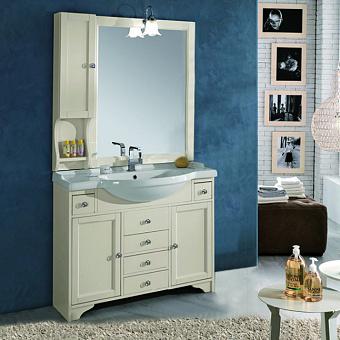 EBAN Eleonora Комплект мебели, с раковиной, зеркалом со шкафчиком слева и светильником, ручки хром, 105см, цвет: Pergamon