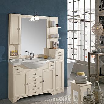EBAN Eleonora Modular  Комплект мебели, со шкафчиком слева, колонна справа, с раковиной и светильником, 130см, цвет: Pergamon