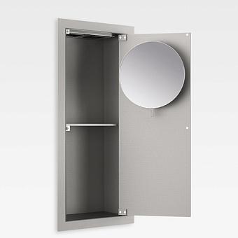 Armani Roca Island Встраиваемый шкафчик 25х13.1хh55см с зеркалом, розетками, полочкой и подсветкой (транформатор 12V/DC не включен) DX, цвет: silver