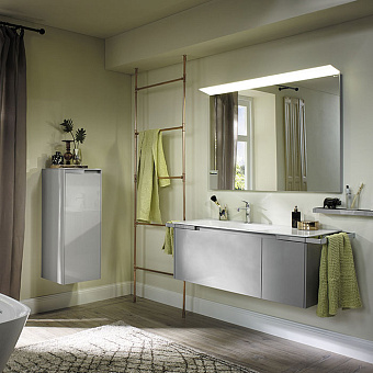 Burgbad Yso Комплект подвесной мебели 128x49x45 см с керамическим умывальником, 2-мя полотенцедержателями, цвет: светло-серый глянцевый