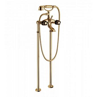 Bongio Fleur Noir Смеситель для ванны напольный с ручным душем, цвет: золото/черный фарфор