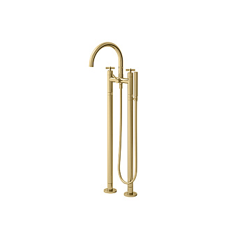 Cristina Cross Road Смеситель для ванны с ручным душем, напольный, цвет: золото
