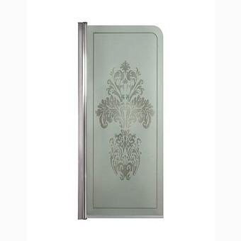 Душевая панель Gentry Home Arcadia h130 см, матовое стекло, прозрачный цветочный декор, профиль слева/справа (хром)
