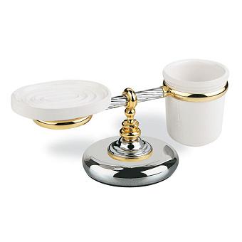 StilHaus Giunone Настольный стакан + мыльница, цвет: хром/золото/керамика