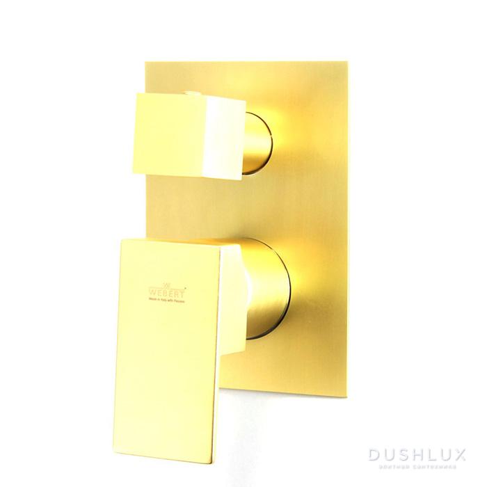 Webert Pegaso Смеситель для душа, встраиваемый, с переключателем на 3 потока, цвет: матовое золото