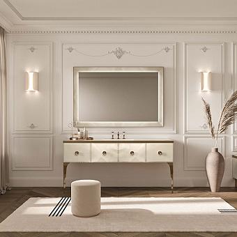 VITAGE milldue edition MAJESTIC 10/b Комплект мебели 180х55х82 см, напольный, раковина, зеркало, с подсветкой, отделка: стекло onice gold, фурнитура: бронза