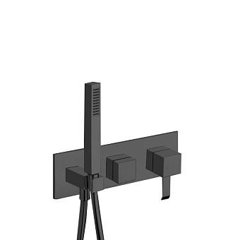 Cristina Quadri Смеситель для ванны/душа с переключателем на 3 выхода, встраиваемый, цвет: черный матовый