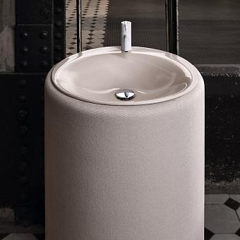 Bette Lux Oval Couture Раковина 90х55 см, 1 отв., напольная, с текстильным подиумом, цвет: буро-серый
