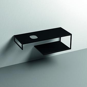 Kerasan Louise Металлическая структура для раковины 120см, подвесная, с полкой, с 1 отв., с полотенцедержателем, цвет: черный матовый