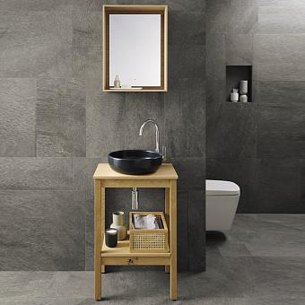 Burgbad MAX Комплект мебели 55х40х91см, напольный, с раковиной, с зеркалом, с 1 полкой, цвет: Natural knotty oak
