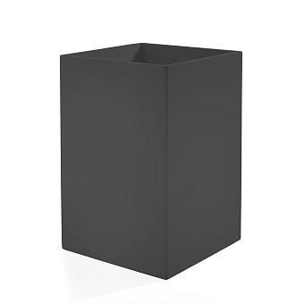 3SC Mood Black Ведро, без крышки, 20х30х20 см,  композит Solid Surface, цвет: чёрный матовый