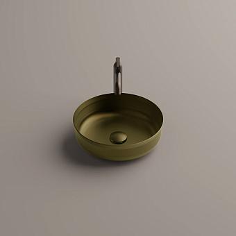 Agape Undici Раковина накладная Ø38см., без отв., без перелива, с донн клапаном, из нержавеющий стали, отделка: Natural brushed brass
