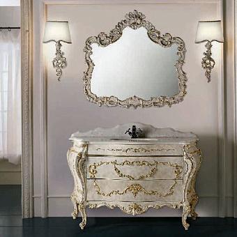 Mobili Di Castello Renoir Комплект мебели 84х141х62 см: напольная тумба, мраморная столешница, керамическая раковина, резное зеркало, бра, мрамор Bianco cristallino/декор Renoir grey pearl