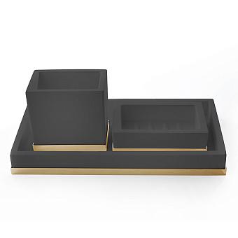 3SC Mood Deluxe Комплект: стакан, мыльница, лоток, цвет: чёрный матовый/золото 24к. Lucido