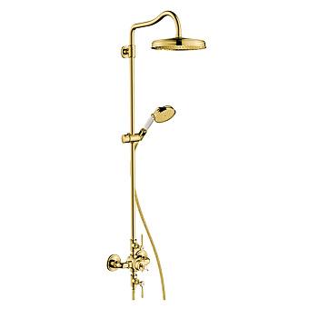 Axor Montreux Душевая стойка с термостатом и верхним душем d=240мм, цвет: полированное золото