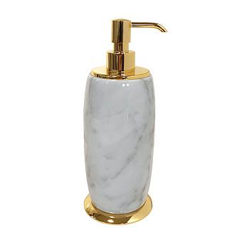 3SC Elegance Дозатор для жидкого мыла, настольный, цвет: мрамор bianco carrara/золото 24к. Lucido