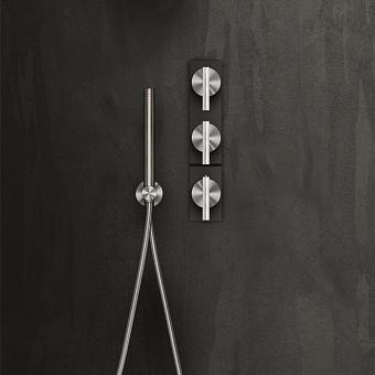 Falper Cilindro Смеситель для душа, 3 отв., настенный, цвет: нержавеющая сталь/черный