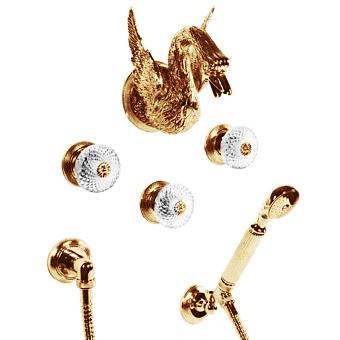 Cristal et Bronze Cygne Aile Смеситель для ванны и душа, цвет золото 24 к.