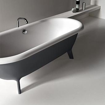 Agape Ottocento Small Ванна отдельностоящая 155x77.5x58 см, слив-перелив нержавеющая сталь, цвет: светло-серый