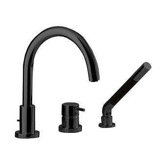 Cisal Less New Смеситель на борт ванны на 3 отв. с ручной лейкой, цвет: черный матовый