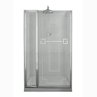 Душевая дверь Gentry Home Athena 110х190 см с фиксированной панелью (слевасправа), прозрачное, закаленное стекло 8 мм с греческим матовым декором, ручка и профиль - хром