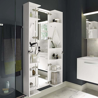 Burgbad Sys30 Шкаф 400х335х1760 мм, подвесной, 2 створки с полками и держ фена, зеркало и двойн. розетка на внутр. стороне, ручки хром, цвет: белый матовый