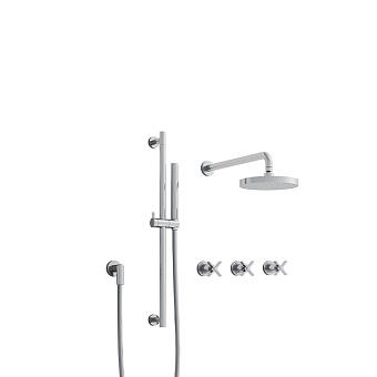Cristina Cross Road Душевой комплект: смеситель встраиваемый, стойка с ручным душем, верхний душ, гибкий шланг, цвет: хром