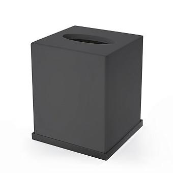 3SC Mood Deluxe Контейнер для бумажных салфеток, 24х7х13 см, прямоугольный, настольный, композит Solid Surface, цвет: чёрный матовый/черный матовый