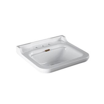 Kerasan Waldorf Раковина керамическая 60х55см, 3 отв., цвет: белый / бронза