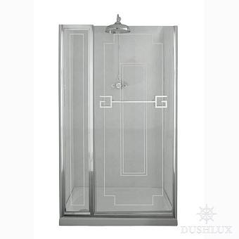 Душевая дверь Gentry Home Athena 130х190 см с фиксированной панелью (слевасправа), прозрачное, закаленное стекло 8 мм с греческим матовым декором., ручка и профиль - хром