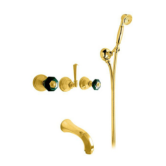 Nicolazzi Teide Chic Смеситель для ванны с 2мя ручками, встроенный, с ручным душем, вкл. внутр часть, излив: 168 мм, цвет: золото