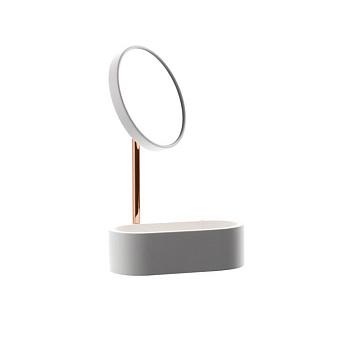 Bertocci Easy Косметическое зеркало, с контейнером из композита, настольное, цвет: белый матовый/розовое золото