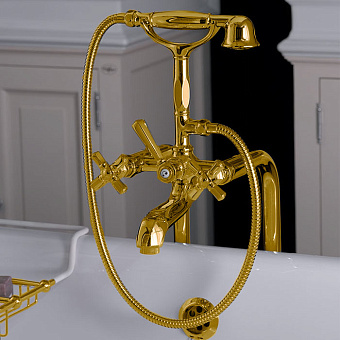 Nicolazzi Teide Four Смеситель для ванны с 2мя ручками, с переключателем ванна/душ, цвет: золото