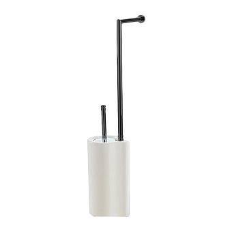 StilHaus Hashi Стойка с держателем для туалетной бумаги и ершиком керамическим, напольная, цвет: чёрный матовый/белая керамика