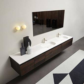 Antonio Lupi Atelier Комплект подвесной мебели с тумбами под раковину, 2 раковинами NUVOLA, зеркальным шкафом MANTRA, пеналом ATELIER, светильником BOLLA1, 90 см, цвет: Rovere thermo