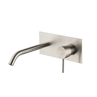 Carlo Frattini Spillo Steel Смеситель для раковины настенного монтажа, излив 200 мм., с донным клапаном click-clack, цвет INOX