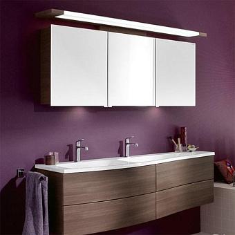 Burgbad Sinea 1.0  Комплект подвесной мебели 161 см, база с 4 выдвижными ящиками цвет капучино, раковина двойная   из минерального литья цвет белый с зеркальным шкафом с верхней подсветкой, цвет: капучино