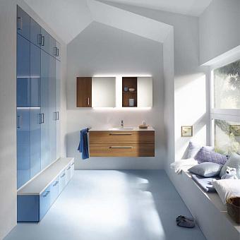 Burgbad Sys30 Комплект мебели: тумба с раковиной 1200х480х480 мм, 2 ящика, ручки хром, подвесным шкаф и зеркальным шкафом, цвет: Tectona Dekor Zimt